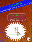 COORDINATE GEOMETRY Word Search Puzzle /Substitute Teacher/ Emergency Plan