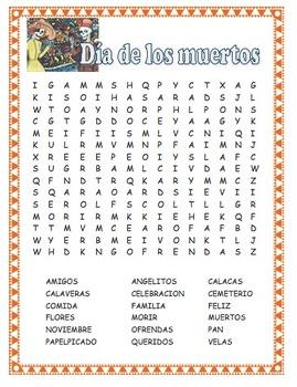 Word Search - Dia de los muertos