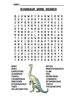 Word Search - Dinosaur Names