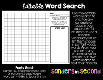Word Search (Editable)