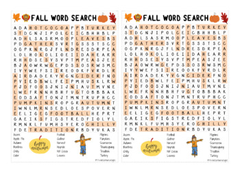 Fall Season Word Search - (prints 2 per page) Ans Key Included