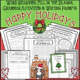 Word Searches, Fill-in-the-Blanks, Grammar, and Writing Prompts * Christmas
