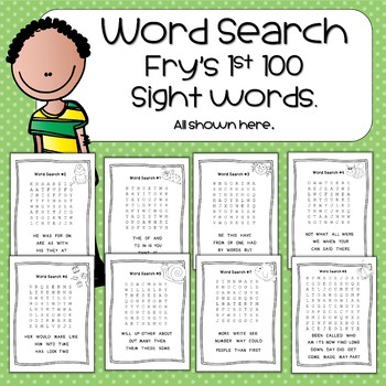 Word Search Fry's First 100 Words