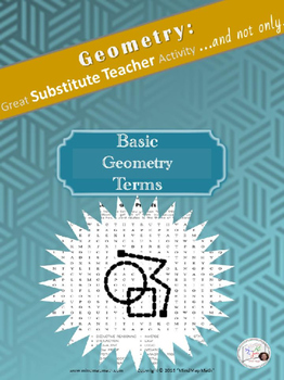 Word Search Geometry Basic Terms Substitute Teacher Activity puzzle