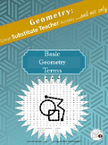 Geometry Word Search Puzzle: BASIC TERMS /Substitute Teacher/ Emergency Plan