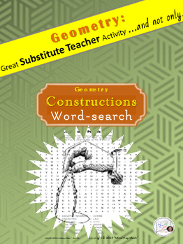 Geometry Word Search Puzzle: CONSTRUCTIONS/Substitute Teacher/ Emergency Plan
