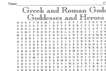 Word Search Greek/Roman Gods, Goddesses, Heroes