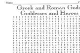 Word Search Greek/Roman Gods, Goddesses, Heroes