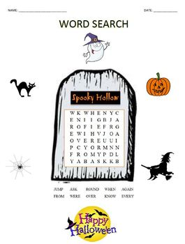 Word Search - Halloween 1st Grade #01