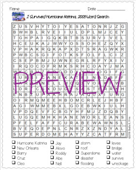 Word Search- I Survived Hurricane Katrina, 2005 -Fun Bell Ringer/Early Finisher!