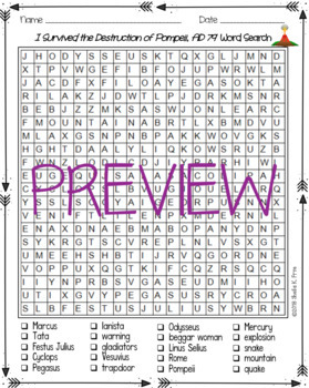 Word Search - I Survived the Destruction of Pompeii, AD 79 - Fun Bell Ringer!