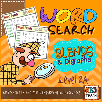 Word Search Puzzles (Initial Blends & Digraphs)  *LEVEL 2*