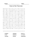 Word Search - Items In Our Classroom