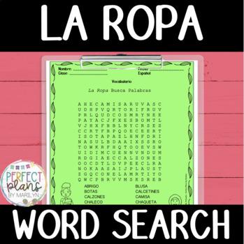 Word Search - La Ropa - FREEBIE