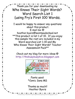 Word Search List 1 Sample using Fry's first 100 words Owl theme