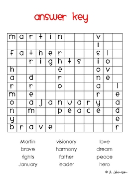Word Search Martin Luther King Jr Day By April Johnson Tpt