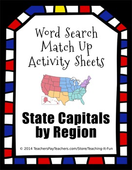 Word Search Match Up Activity Sheets : State Capitals for 2nd,3rd,4th,5th Grade