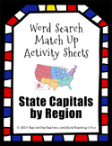 Word Search Match Up Activity Sheets : State Capitals for