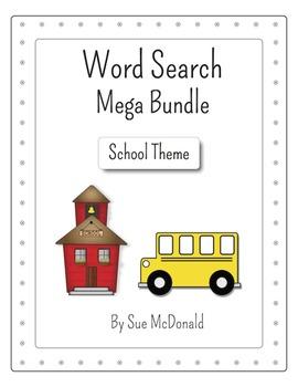 Word Search Mega Bundle - School Theme - 30 puzzles - Gr. K-6