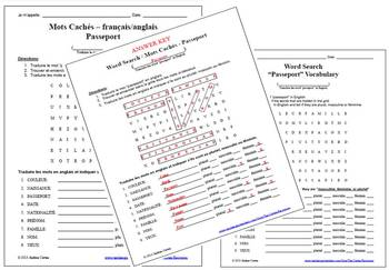 Word Search / Mots Caches in French and English - Passport Vocabulary