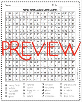 Word Search - Nerdy Birdy Tweets - Fun Bell Ringer/Early Finisher Activity!