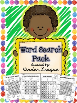 Word Search Pack by Kinder League