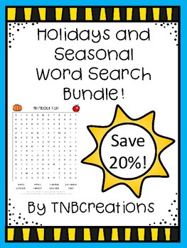 Word Search Bundle Holidays and Seasons