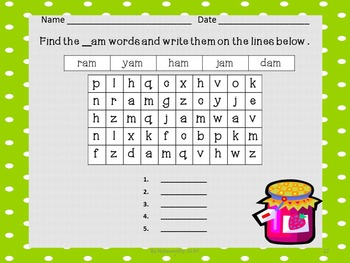 Word Search Packet for Short a CVC Words - Set 1