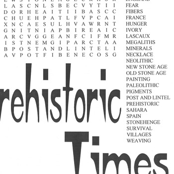 Word Search Prehistoric Times