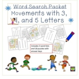Word Search Puzzle Packet: Movement Vocabulary