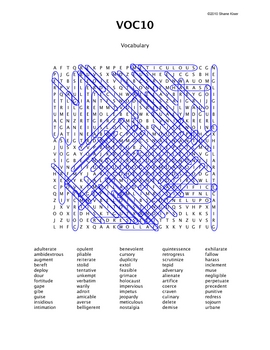 Word Search Puzzle (Vocabulary) 10 Answers