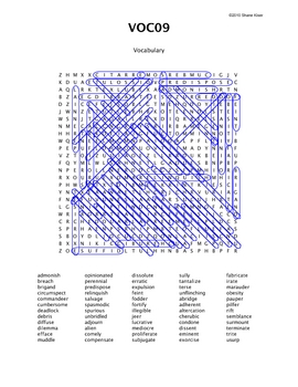 Word Search Puzzle (Vocabulary) 9 Answers