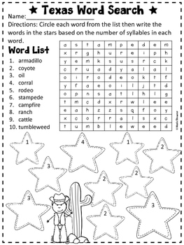 Texas Word Search Puzzles