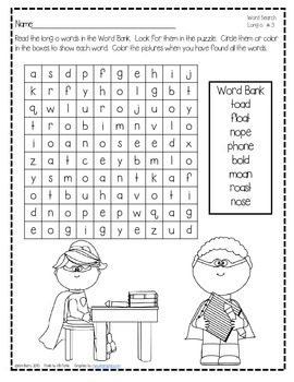 Word Search Puzzles - Long o