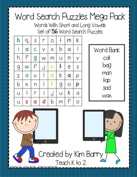 Word Search Puzzles Mega Pack - Long and Short Vowels