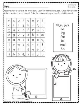 Word Search Puzzles Short a Words