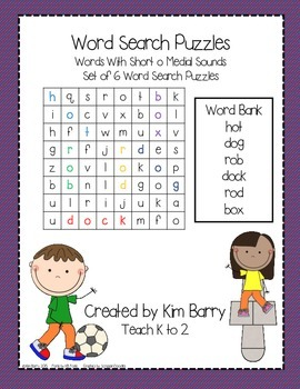 Word Search Puzzles - Short o Words