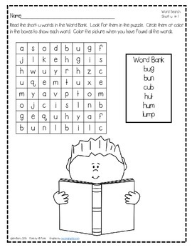 Word Search Puzzles - Short u Words