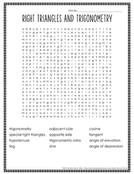 Word Search RIGHT TRIANGLES and TRIGONOMETRY