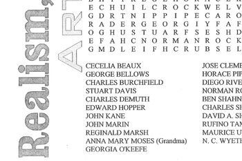 Word Search Realist Artists 1920-40
