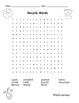 Word Search Recycle/Earth Day in English and Spanish