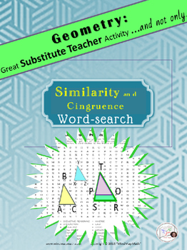 Word Search Similarity Congruence Substitute Teacher Activity HS Geometry puzzle