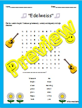 "Word Search: Song Lyrics: ""Edelweiss"""