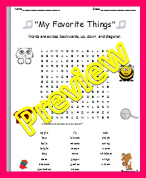 "Word Search: Song Lyrics: ""My Favorite Things"""