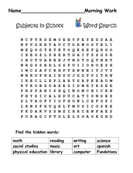 Word Search-Subjects