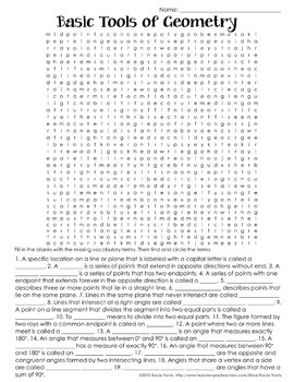 Word Search TOOLS OF GEOMETRY