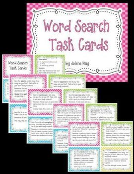 Word Search Task Cards Aligned to Grade 3 TEKS and CCSS