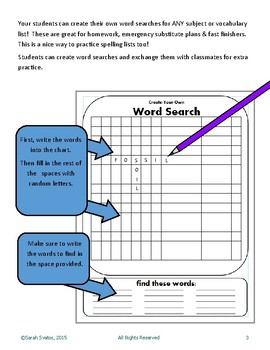 Word Search Template, English / Spanish, Create Your Own