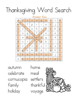 Word Search: Thanksgiving