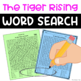 The Tiger Rising Novel Study Word Search